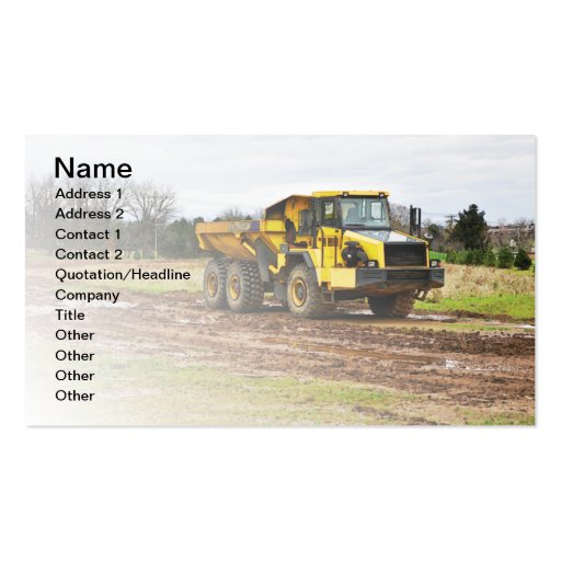 large yellow dump truck business card