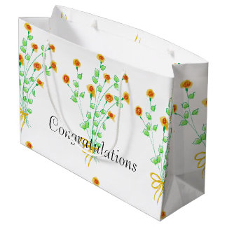 Large Yellow Flowered Gift Bag