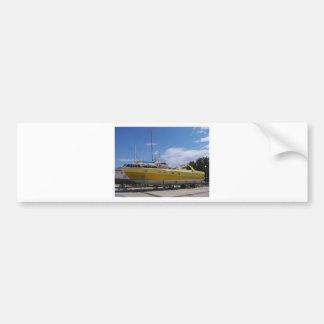 Large Yellow Powerboat Bumper Sticker