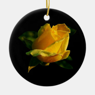 Large Yellow Rose Ceramic Ornament