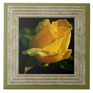 Large Yellow Rose Ceramic Tile
