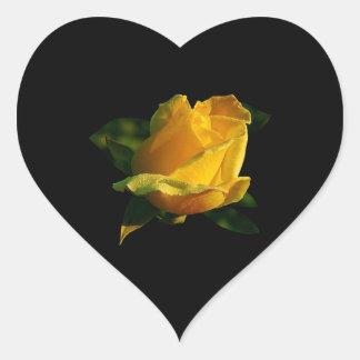 Large Yellow Rose Heart Sticker
