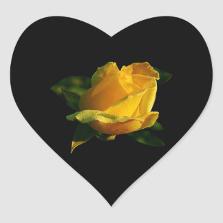 Large Yellow Rose Heart Sticker