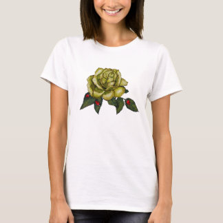 Large Yellow Rose With Red Ladybugs T-Shirt
