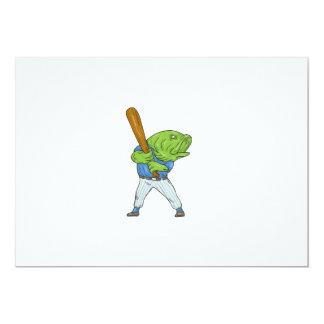 Largemouth Bass Baseball Player Batting Cartoon Card