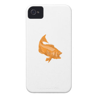 Largemouth Bass Diving Drawing iPhone 4 Case-Mate Cases