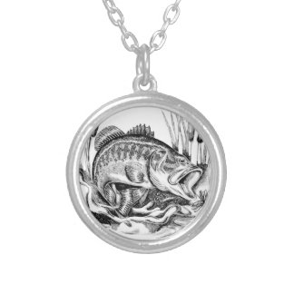Largemouth bass silver plated necklace