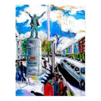 larkin monument oconnell street dublin postcard