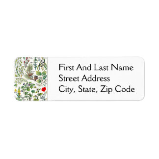 Larousse Pine Cone Tree Flower Branch Painting Return Address Label