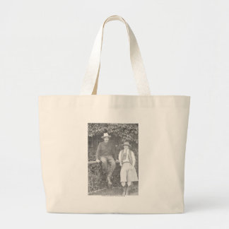 Larry Larom and a women posing. Large Tote Bag
