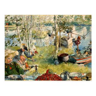 Larsson - Crayfishing - Postcard