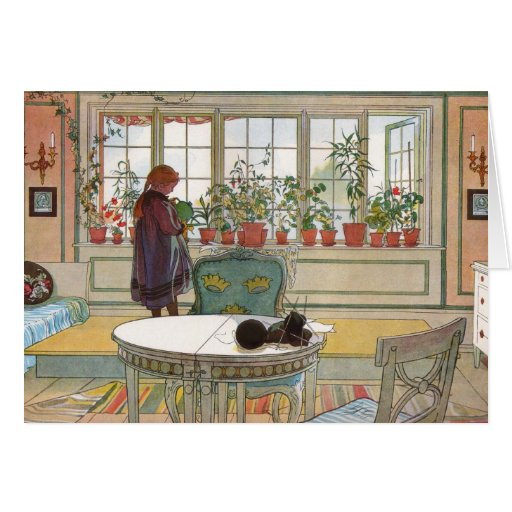 Larsson: Flowers on the Windowsill Greeting Cards