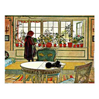 Larsson - Flowers on the Windowsill Postcard