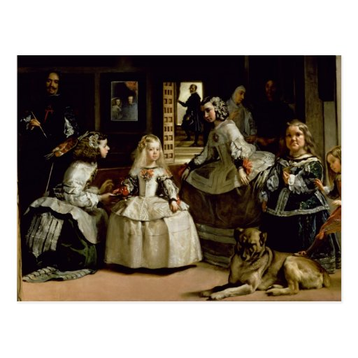 Las Meninas detail of the lower half depicting Postcard