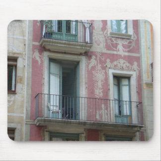 Las Ramblas - pink hotel Mouse Pad
