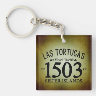 Las Tortugas EST. 1503 Rustic Double-Sided Square Acrylic Key Ring