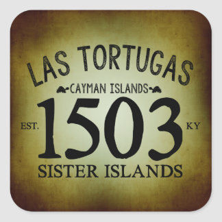 Las Tortugas EST. 1503 Rustic Square Sticker