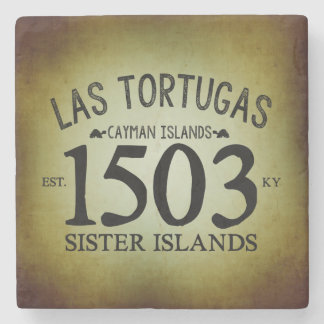 Las Tortugas EST. 1503 Rustic Stone Beverage Coaster