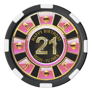 Las Vegas 21st Birthday Casino | pink black gold Poker Chips
