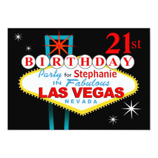 Las Vegas 21st Birthday Party Card