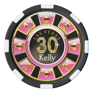 Las Vegas 30th Birthday Casino | pink black gold Set Of Poker Chips