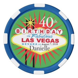 Las Vegas 40th Birthday Casino Chip green blue Poker Chips Set