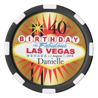 Las Vegas 40th Birthday Casino Chip Set Of Poker Chips
