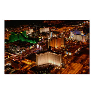 Las Vegas aerial view from a blimp Poster
