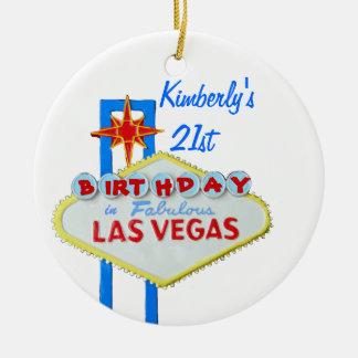 Las Vegas Age 21 Birthday Ceramic Ornament