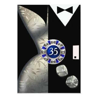Las Vegas Art Deco 35th Birthday silver black 13 Cm X 18 Cm Invitation Card