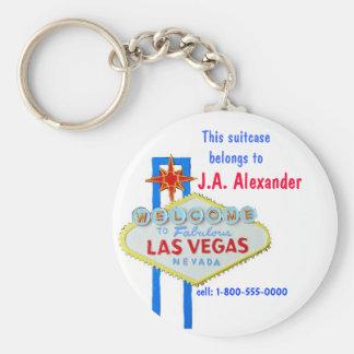 Las Vegas Bag Tags Basic Round Button Key Ring