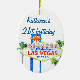 Las Vegas Birthday 21 Ceramic Ornament