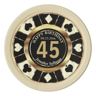 Las Vegas Birthday in a Cream Ivory Poker Chips