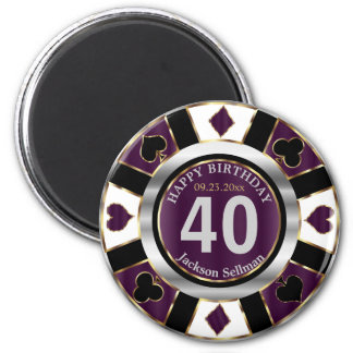 Las Vegas Birthday in Plum Purple Magnet