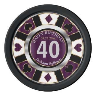 Las Vegas Birthday in Plum Purple Poker Chips