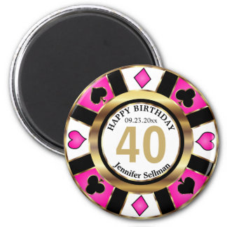 Las Vegas Birthday in Pretty Pink Magnet