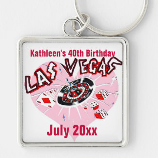 Las Vegas Birthday Party for Her Silver-Colored Square Key Ring