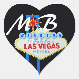 Las Vegas Bride and Groom Initials Heart Sticker