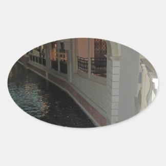LAS VEGAS Canals below Resorts Hotels Casinos City Oval Sticker