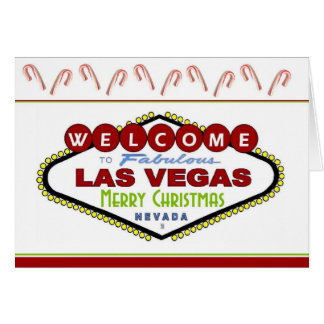 Las Vegas Candy Cane Merry Christmas Card