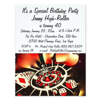 Las Vegas Casino Birthday Celebration 11 Cm X 14 Cm Invitation Card