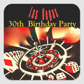 Las Vegas Casino Birthday Party Square Sticker