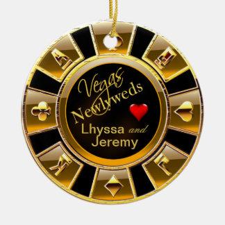 Las Vegas Casino Chip photo black/gold Round Ceramic Decoration