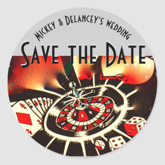 Las Vegas Casino save the date personalized Classic Round Sticker