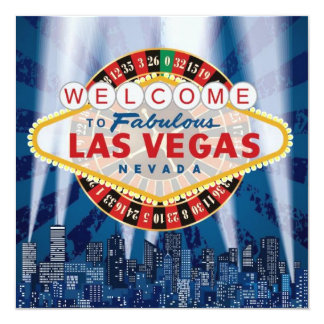 Las Vegas Cityscape Modern Unique Birthday Invite