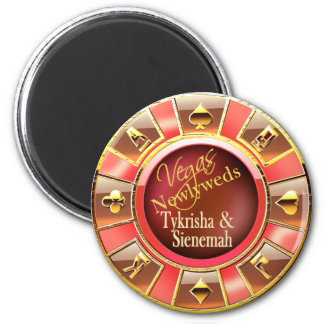 Las Vegas Deluxe Coral Gold Casino Chip Favor 6 Cm Round Magnet