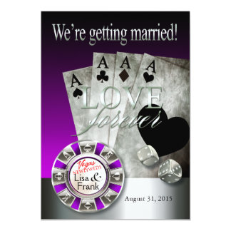 Las Vegas Deluxe Wedding | silver purple Card