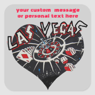 Las Vegas Dice and Card Games Heart Square Sticker