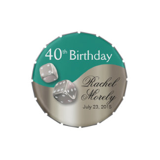 Las Vegas Dice Swoop 40th Birthday silver teal Jelly Belly Tins