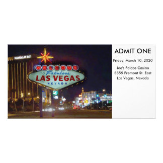 Las Vegas Event Admission Ticket Personalised Photo Card